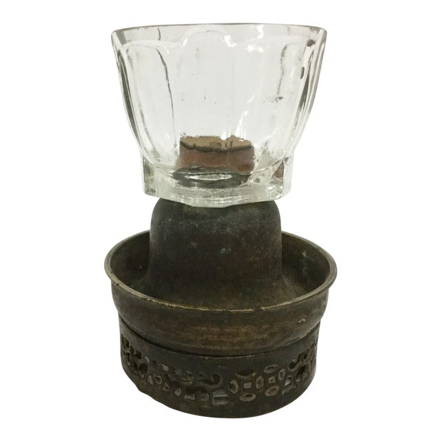 Antique Bronze & Glass Oil Lantern For Sale