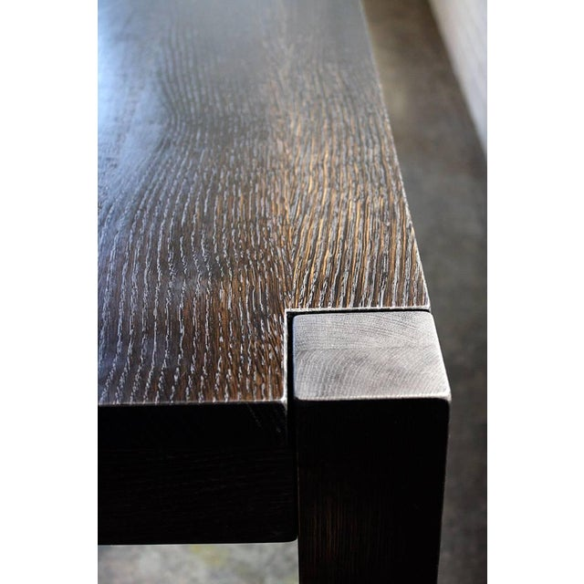 Oak Hand-Carved Rolling Dining Table by AKMD Collection For Sale - Image 4 of 5