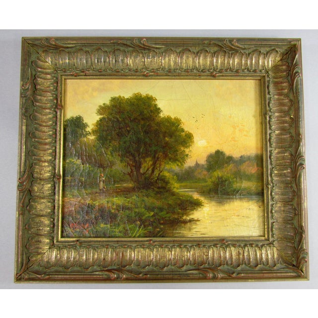 1910 R. Fenson H. Maidment English Landscape Oil Painting Country Girl Stream For Sale - Image 11 of 11