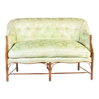 Green Upholstered Bamboo Turned Wood Settee For Sale