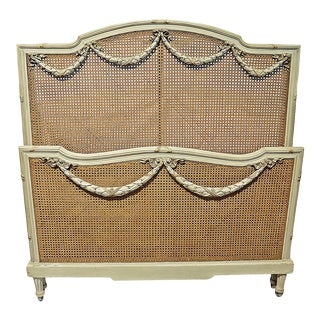 Antique French Louis XVI Style Painted Caned Headboard and Footboard - 2 Pieces For Sale