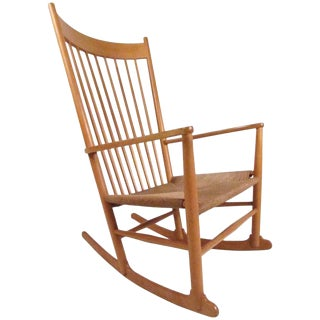 Mid-Century Modern Hans Wegner J.16 Rocking Chair With Rush Seat For Sale