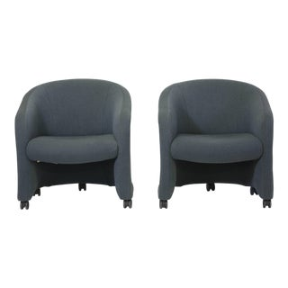Jack Cartwright Upholstered Barrel Chairs - a Pair