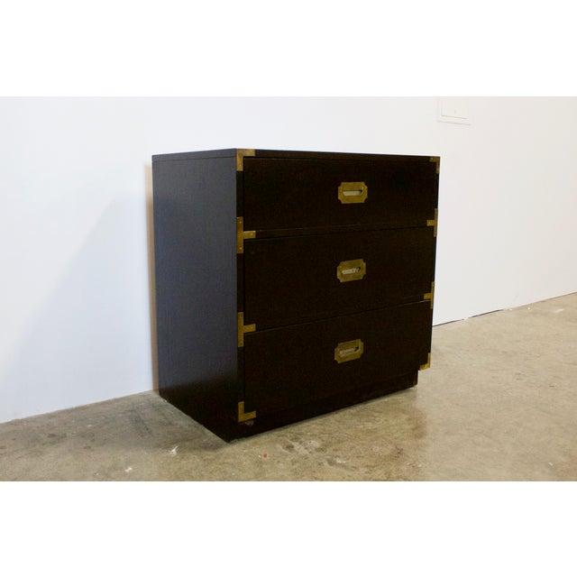"Classic timeless style. Black Lacquered ""dixie campaigner."" chest. Three drawers, easily pull in and out. Original brass..."