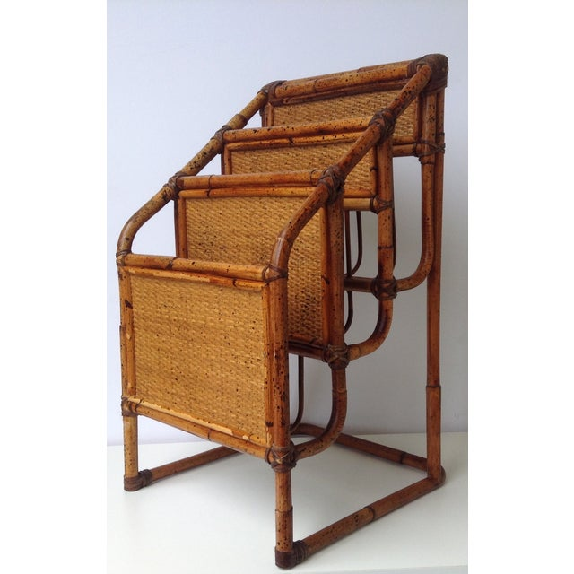 Vintage Bamboo Leather-Wrapped Magazine Stand - Image 2 of 11