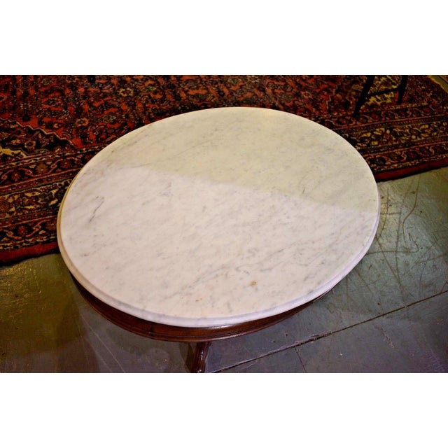 Beautiful Oval Eastlake Style Marble Top Table Very good condition. Was refinished at some point. The marble is in...