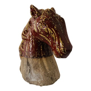 Vintage Burgundy Ceramic Horse Head Sculpture For Sale