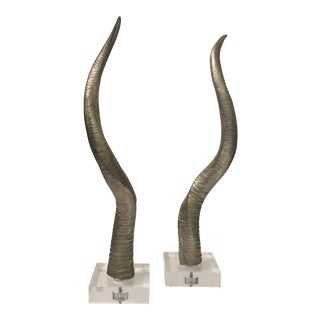 Faux Horns on Acrylic Bases - a Pair For Sale