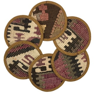 Kilim Coasters Set of 6 | Lütfullahefendi For Sale