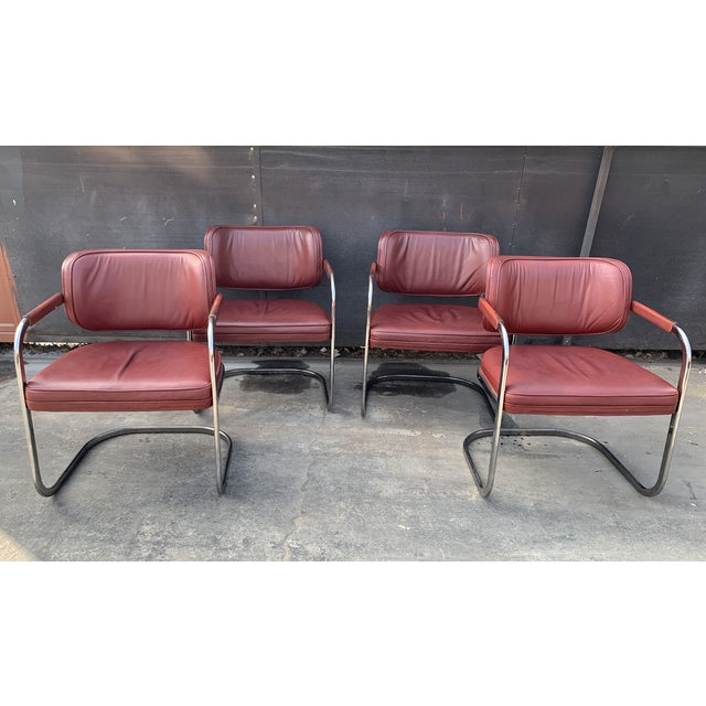 Mid-Century Brayton International Red Leather and Chrome Cantilever Chairs For Sale - Image 9 of 9