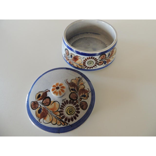 Mexican Round Blue and Brown Mexican Talavera Ceramic Decorative Box For Sale - Image 3 of 5