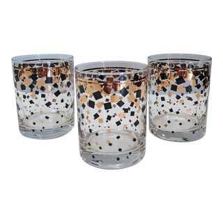1970s Georges Briard Gold & Black Confetti Double Rocks Glasses - Set of 3 For Sale