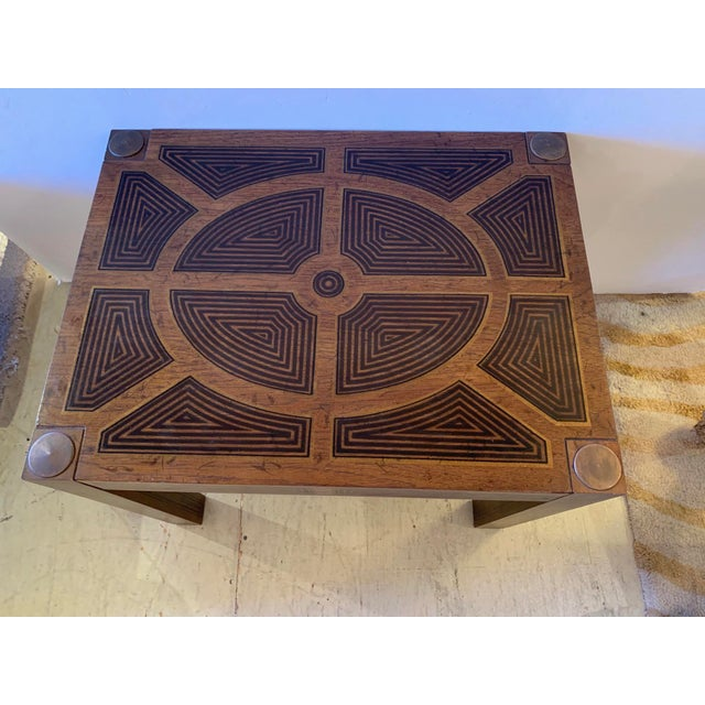 Neoclassical Inlaid Wood Rectangular End Table With Geometric Decoration For Sale - Image 3 of 13