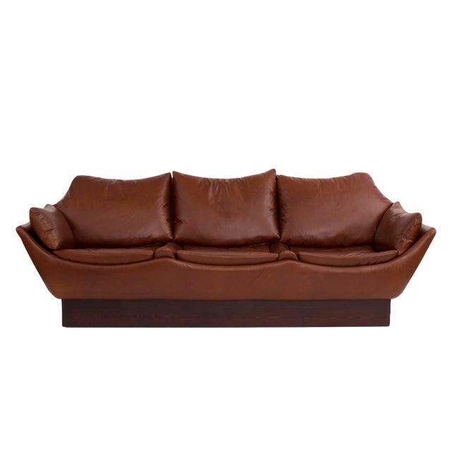 Phenomenal Danish Leather Sofa - Image 1 of 6