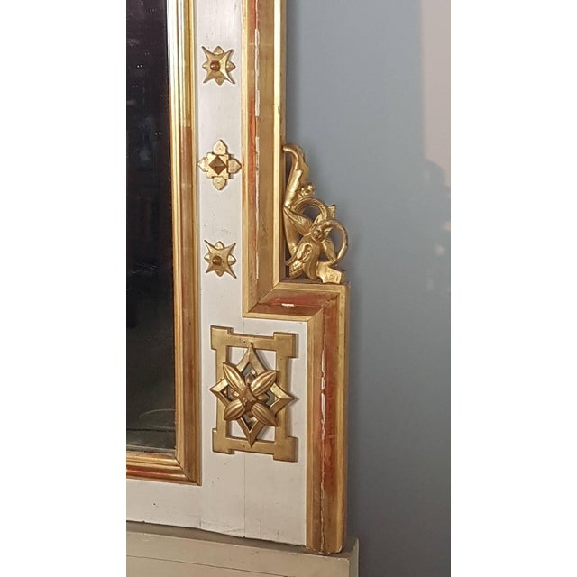 Giltwood 19th Century Italian Baroque Style Carved Lacquered Golden Wood Floor Mirror For Sale - Image 7 of 12