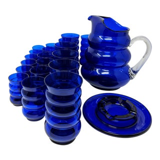 1950s Cobalt Blue Pitcher, Glasses, and Ashtray Glassware Set - 20 Pieces For Sale