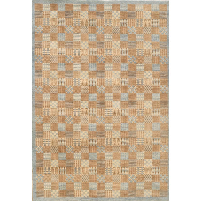 """Pasargad NY Hand-Knotted Modern Area Rug - 6'2"""" x 9' For Sale"""