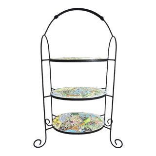 Mosaic Three Tier Wrought Iron Shelf Unit For Sale