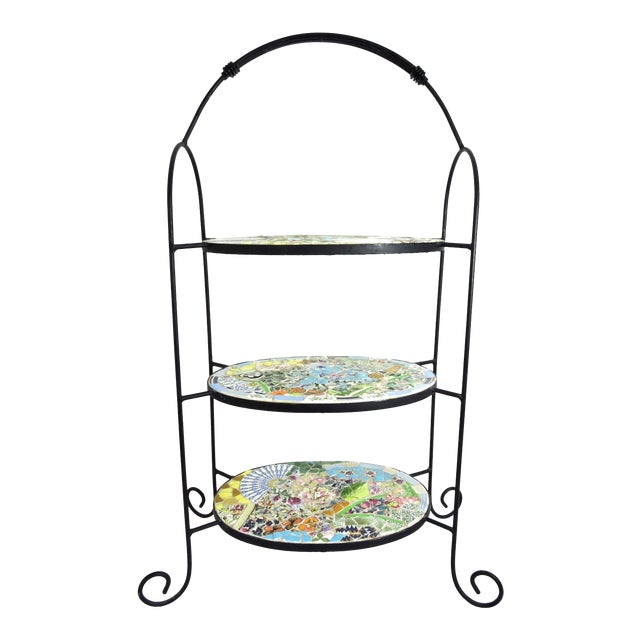 Mosaic Three Tier Wrought Iron Shelf Unit or Plant Stand For Sale