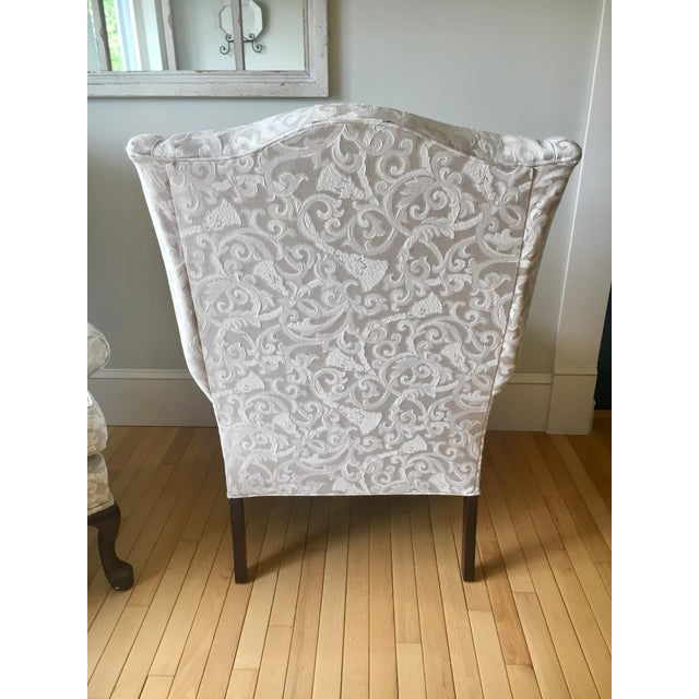 English Greige Damask Queen Anne Wingback Chairs - a Set For Sale - Image 3 of 11