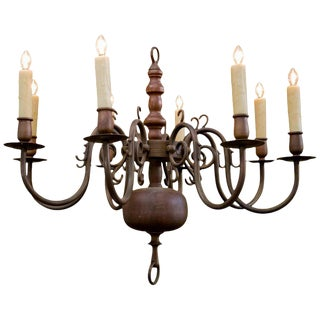 Classic Heavy Georgian Bronze Chandelier in Williamsburg Style For Sale