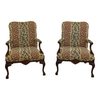 Pair Ball & Claw Foot Upholstered Open Arm Living Room Chairs For Sale