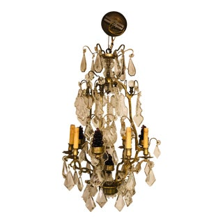 1930s Antique Crystal French Bronze Chandelier For Sale