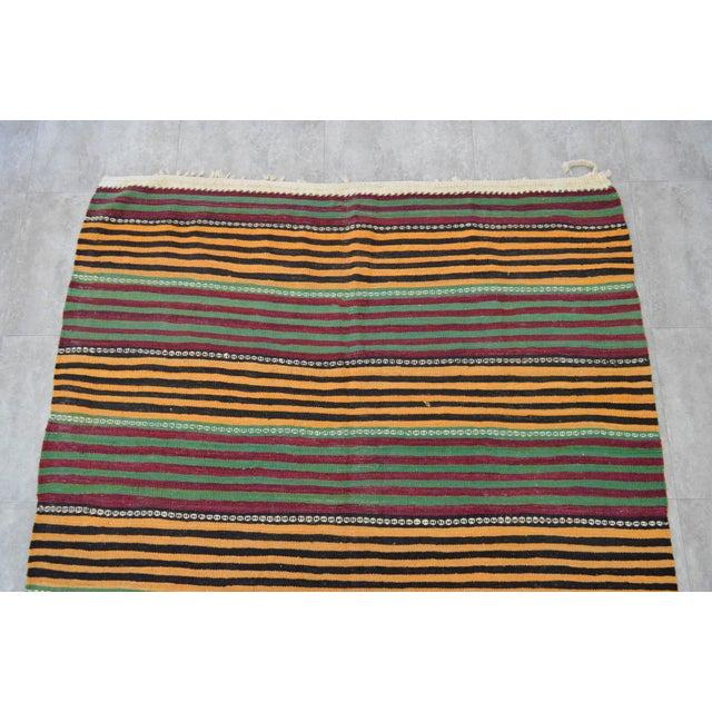 Hand-Woven Kilim Rug Striped Area Rug - 5′11″ X 9′8″ - Image 7 of 8