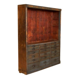 Antique Original Painted Cabinet With Multiple Drawers Apothecary For Sale