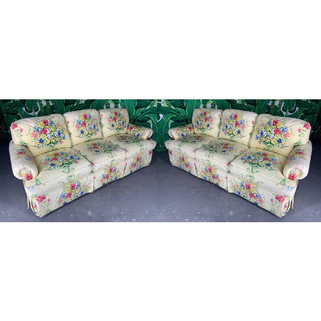 Pair of Floral Upholstered Sofas by Sherrill For Sale - Image 9 of 9