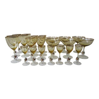 Czech Crystal Amber Stemware - Set of 24 For Sale