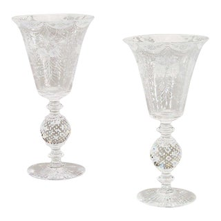 Matched Pair of Crystal Trumpet Vases-Pairpoint For Sale