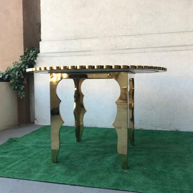 Gold Klassik Monumental Brass Hammered Entry Table For Sale - Image 8 of 12