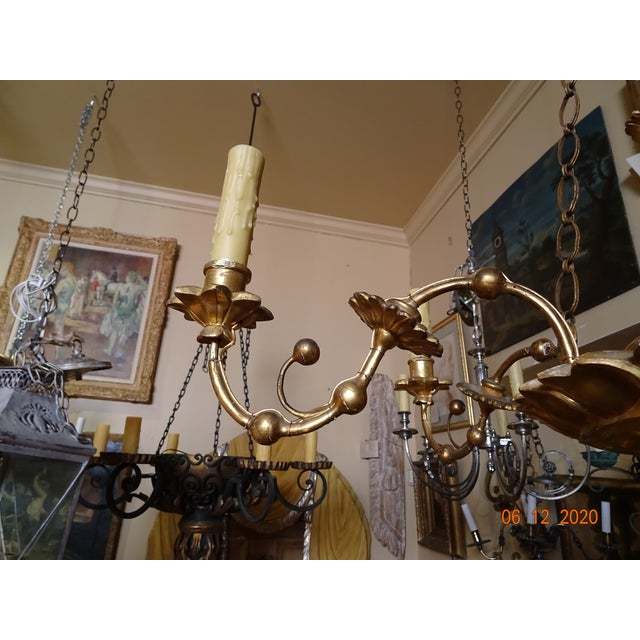 18th Century Italian Gilt Wood Chandelier For Sale - Image 4 of 13