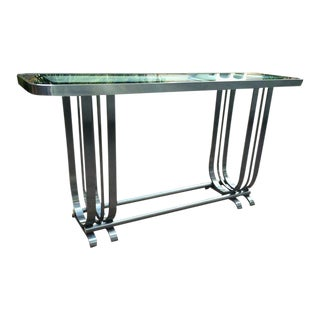 Gilbert Rohde Metal and Glass Console Table For Sale