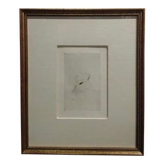 """Toulouse-Lautrec """"Portrait of a Man Profile"""" Original Vintage Etching For Sale"""