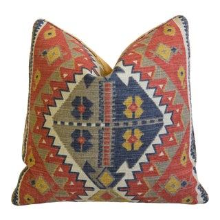 "Lee Jofa Rebeka Southwest Persian Feather/Down Pillow 21"" Square For Sale"