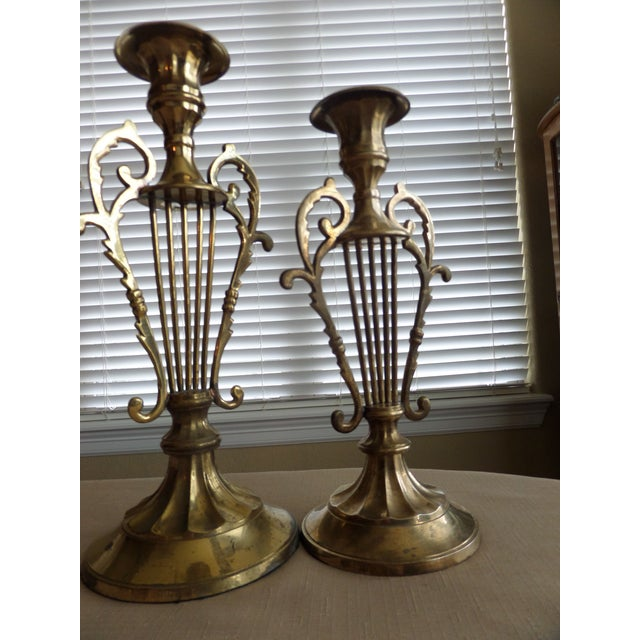 Solid BrassMusical Harp Design Candle Holders - A Pair For Sale In Dallas - Image 6 of 10