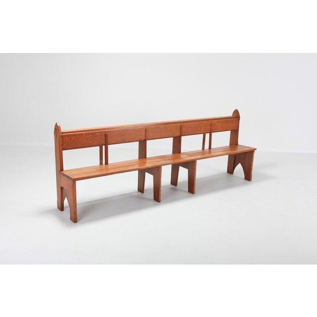 Art Deco Mid-Century Modern Solid Oak Bench Wabi Sabi Style For Sale - Image 3 of 9