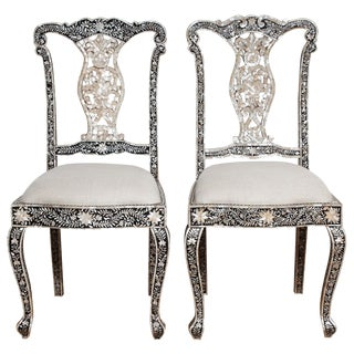 Mid-20th Century Anglo Indian Mother of Pearl Chairs For Sale