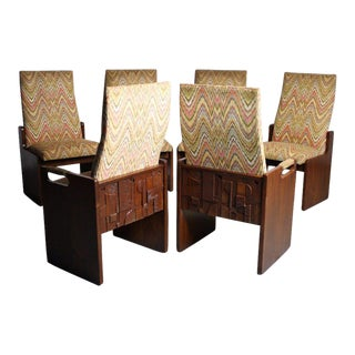 Lane Brutalist Walnut Dining Chairs - Set of 6