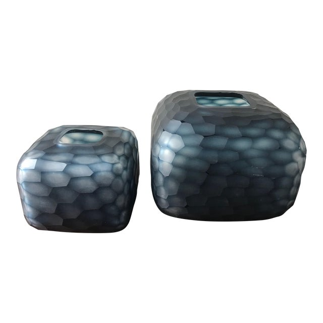 Contemporary Navy Blue Carved Glass Vases - a Pair For Sale