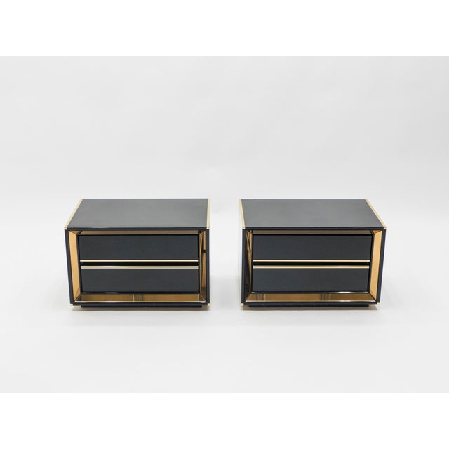 Italian Sandro Petti Black Lacquered Brass Mirrored Nightstands Tables, 1970s For Sale - Image 9 of 13