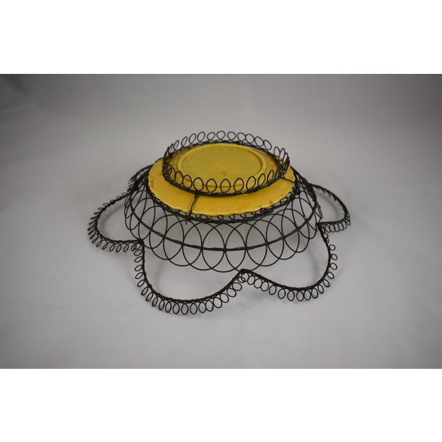 German Majolica & Looped Wire Basket For Sale - Image 9 of 11
