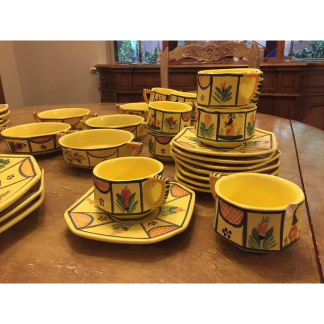 Yellow Yellow Quimper Pottery Dinnerware - 36 Pieces For Sale - Image 8 of 10