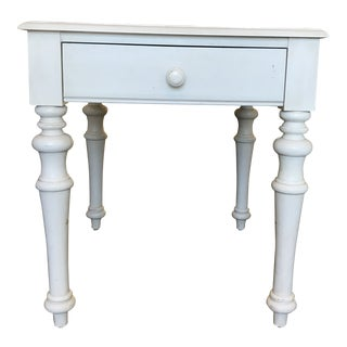 Cottage White Wood One Drawer Table For Sale