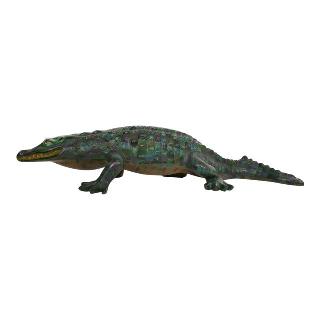 Whimsical Sergio Bustamante Papier Mâché Crocodile Sculpture, Mexico, 1970s For Sale