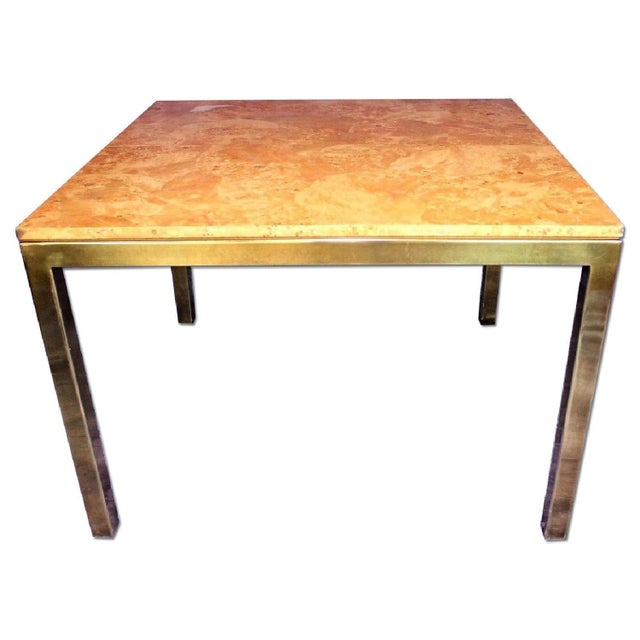 Milo Baughman Milo Baughman Style Burled Wood & Brass Square Dining Table For Sale - Image 4 of 10