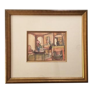 Framed Interior Scene Watercolor Painting For Sale