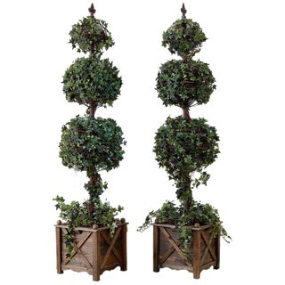 Pair of Neoclassical Faux Ivy Topiary Trees For Sale